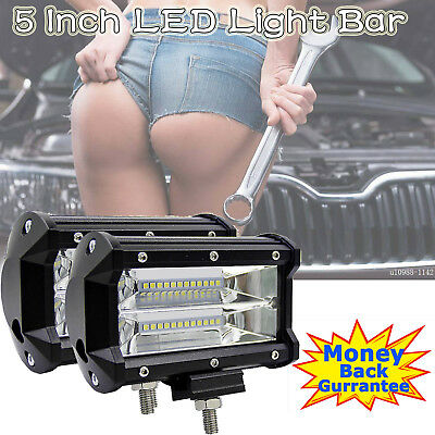 Pair 5inch CREE LED Work Light Bar Spot Flood OffRoad Driving 4WD 4x4 Reverse