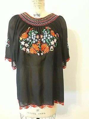 Vintage Hungarian Hand Embroidered Womens Black Top