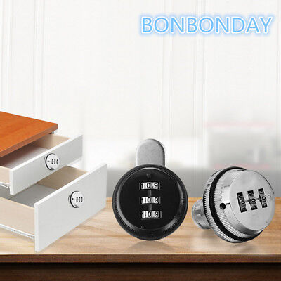 3-Dial Code Combination Cam Lock Zinc Alloy Furniture Cabinet Mail Box Security