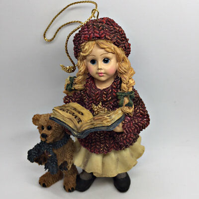 Christmas Boyds Dollstone Ornament Megan w/ Elliot Bear Carol Book Sweater 1995