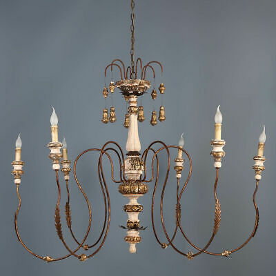 Spectacular Large Chandelier French Country 6-Light Ceiling Lights Antique Gold