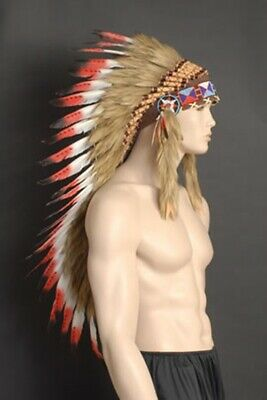 Feathered American Indian Headdress with red feathers and brown leather
