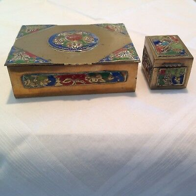 Vintage Chinese brass and enameled box with BONUS smaller box