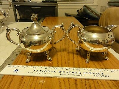 Vintage Silver Plate Creamer And Sugar Set With Feet, Silver over Copper