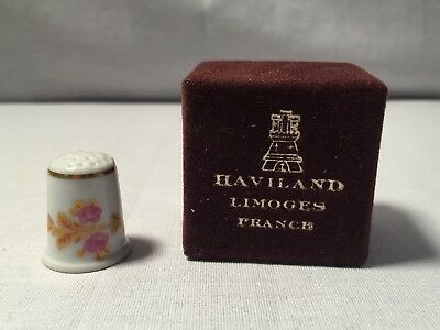 Vintage Haviland Limoges France Pink Rose With Gold Accents Thimble With Box