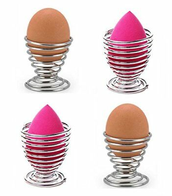 Stainelss Steel Spring Wire Egg Tray Eggs Holder Stand Storage Makeup Beauty 4pc