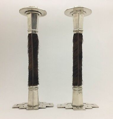 Great Vintage Modernist Mid-Century Mexican Silverplated Candlesticks