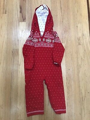 Hanna Andersson Hoodie Sweater Romper Youth Toddler 12 - 24 mo EUC red cozy worm