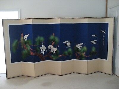 "69"" Tall 8 18"" wide panel Korean hand embroidered folding screen"