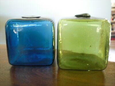 "Two Vintage Japanese 4"" Square Cube Glass Curio Fish Net Floats"