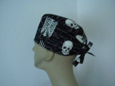 Surgical Scrub Cap/Tieback Hat - Anatomical Bones Glow in Dark - One size