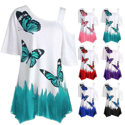 UK Plus Size Women One Shoulder Baggy Blouse Summer Butterfly Printed Shirt Top
