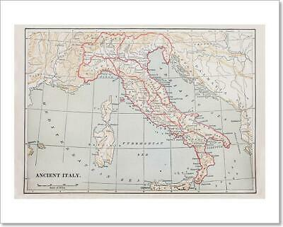 Ancient Italy Map Art Print Home Decor Wall Art Poster - H