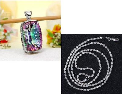 Women Jewelry 925 Silver plated Crystal Pearl Pendant Chain Necklace Gift