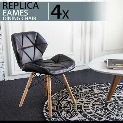 4 x Black Retro Eames PU Leather Dining Office Cafe Lounge Padded Seat Chair