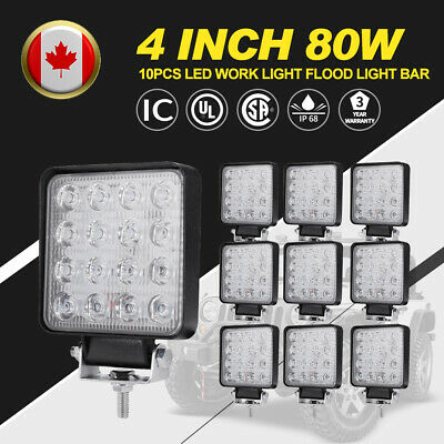10X 4inch 80W CREE LED Work Light Bar Flood Beam Offroad 4WD Ford JEEP 12V 24V