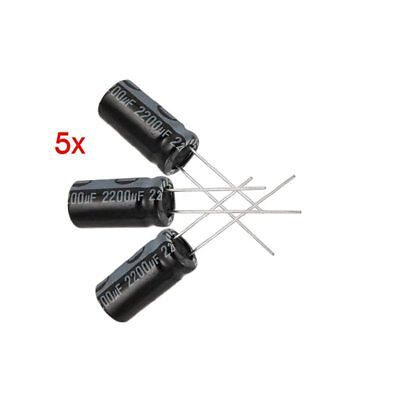 5 x 2200UF 16V 105C Radial Electrolytic Capacitor 10x20mm D2H7