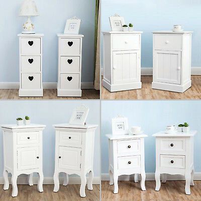 2 x Modern White Wooden Bedside Tables Cabinet Nightstand with Drawers Bedroom