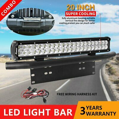 20inch CREE LED Light Bar SPOT FLOOD Work Driving Bars & 23'' Number Plate Frame