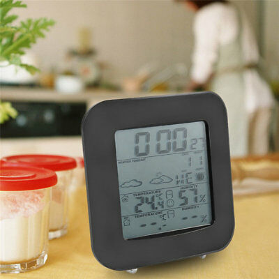 LCD Display Temperature Humidity Meter Weather Station Alarm Clock TS TD