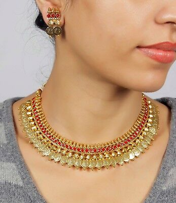Indian Necklace Temple Gold Plated Traditional Ethnic South Indian Women Jewelry
