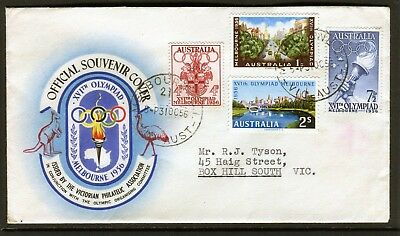1956 Melbourne Olympics Set Of 4 Addressed First Day Cover, Good Condition
