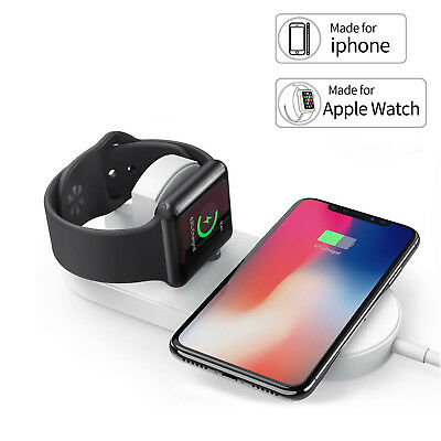 FIT For iPhone X 8 Plus 7.5W 2 in 1 Qi Wireless Charger Charging Pad Station