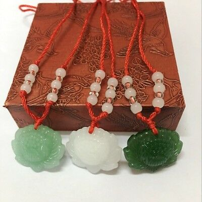 New Jade Lotus Flower Carved Necklace Pendant Lucky Amulet Gift Unisex Jewellery