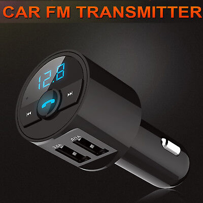 Bluetooth Car Kit Wireless FM Transmitter Dual USB Charger Audio MP3 Player 2018