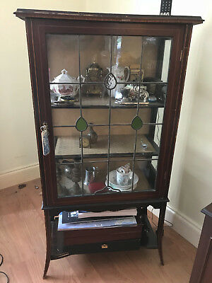 1900's Mahogany China Cabinet Glazed Door. art deco stained glass.arts crafts