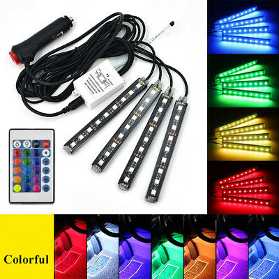 4Pcs 9LED Colorful RGB Car Interior Floor Atmosphere Light Strip Remote Control