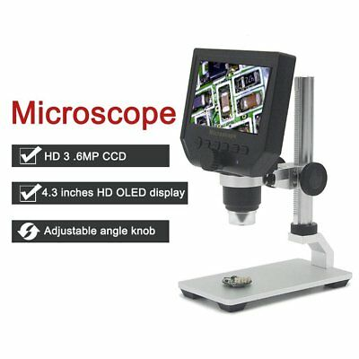 "HD 3.6MP CCD 4.3"" OLED Screen Display 600X Digital Microscope with Metal Brac TD"