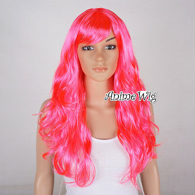 Karneval Party Wig Mädchen Curly Perücke Cosplay Gelatte Anime Magenta Curly