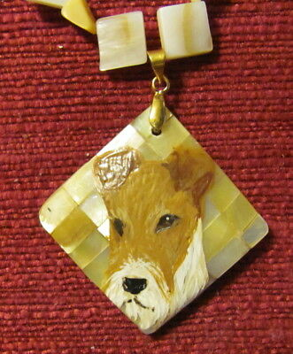 Wire Fox Terrier hand painted on a square, Gold lip shell