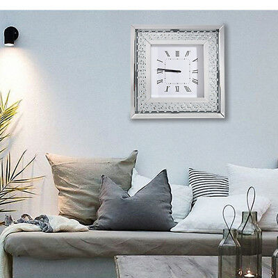 Panana Square Mirrored Wall Clock Floating Crystals Bevelled 50x50cm Hot Sell