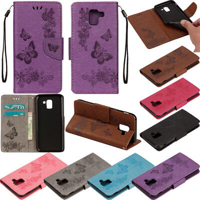 For Samsung Galaxy J4 J6 Plus 2018 Painted Flip Wallet Card Leather Case Cover
