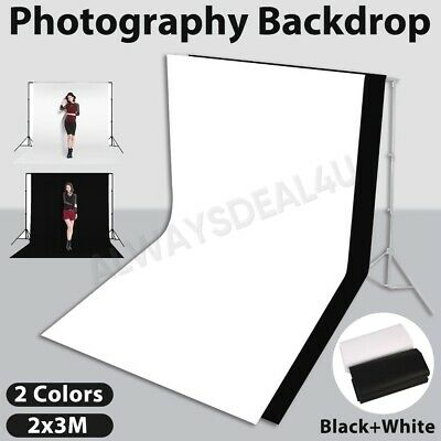 2x3m Photography Black White Backdrop Photo Lighting Studio Screen Background