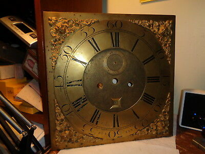 Antique-Brass Grandfather Clock Dial-David Gordon-Dublin-Ca.1725--#P301