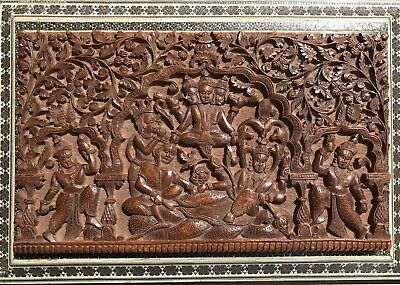 Antique Anglo Indian Carved Sandalwood Box And Inlaid Sadeli Work. 1875.