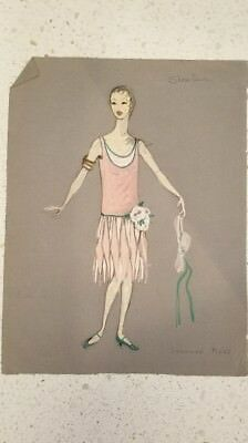 signed Suzanne Mess costume sketch