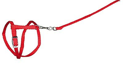 Red Adjustable Rabbit or Guinea Pig Harness with Detachable Lead