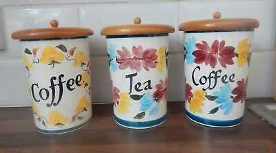 "Vintage Set of 3 Toni Raymond Storage Jars/Canisters - 7"" Tall"