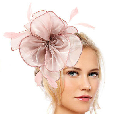 Pettine fiori piume Fascinator Wedding Races Proms Accessorio per capelli sposa.