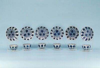 Chinese Blue/white Export Porcelain Bowls & Saucers Aster Pattern Kangxi Period