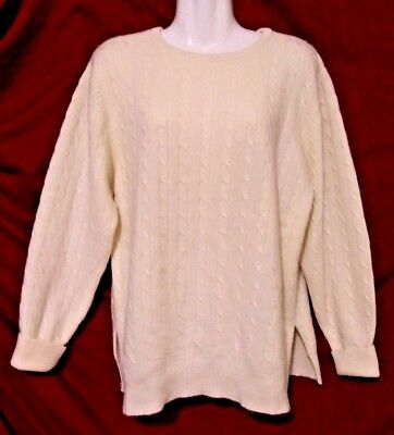 Vtg 1960's Lord & Taylor Country Women's Sweater 100% Cashmere 2-ply Cream Sz L