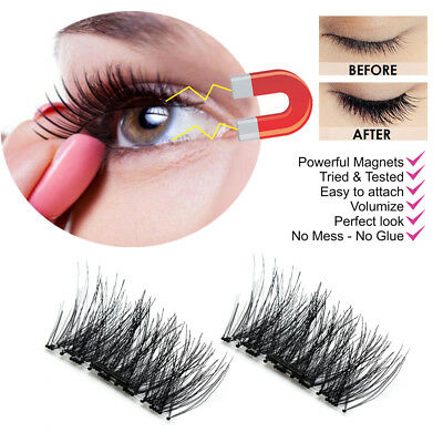 Magnetic cifalsi 3D Natural Eye Lashes di estensione fatta a mano 4pz / 2 nuovo