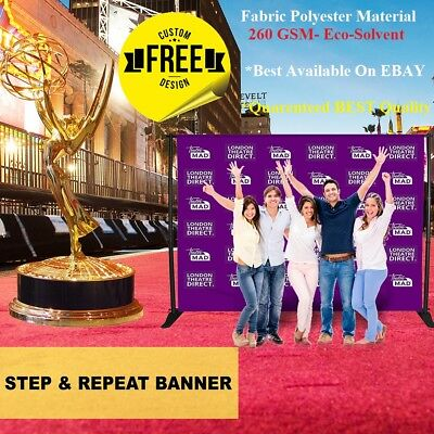 10x8 CUSTOM Step Repeat Banner Backdrop Full Color Printed FABRIC Banner + STAND