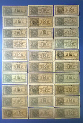 Ww2 Greece 1944 Lot Of  10 Billion Drachmai 30 Pcs Hyperinflation Banknotes!!!!!