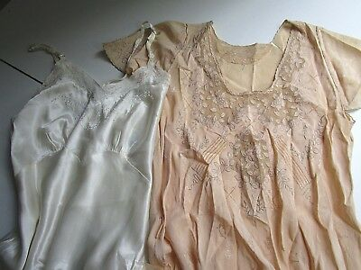 Lot of 2 Antique Vintage Nightgown, Slips, Embroidered & Net Lace Cutters
