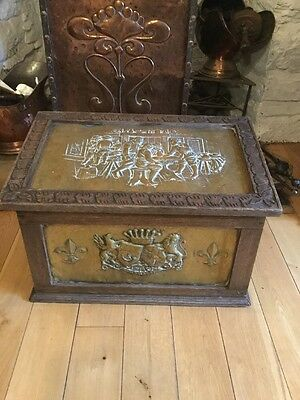 Antique Edwardian Arts And Crafts Oak And Brass Log Box Country House Fireplace